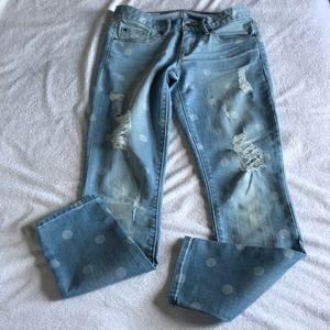 GAP Jeans - GAP Always Skinny distressed polka dot light jeans